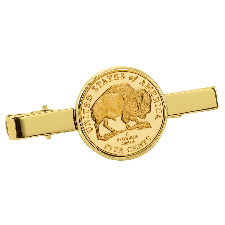 Gold-Layered Westward Journey Bison Nickel Goldtone Tie Clip