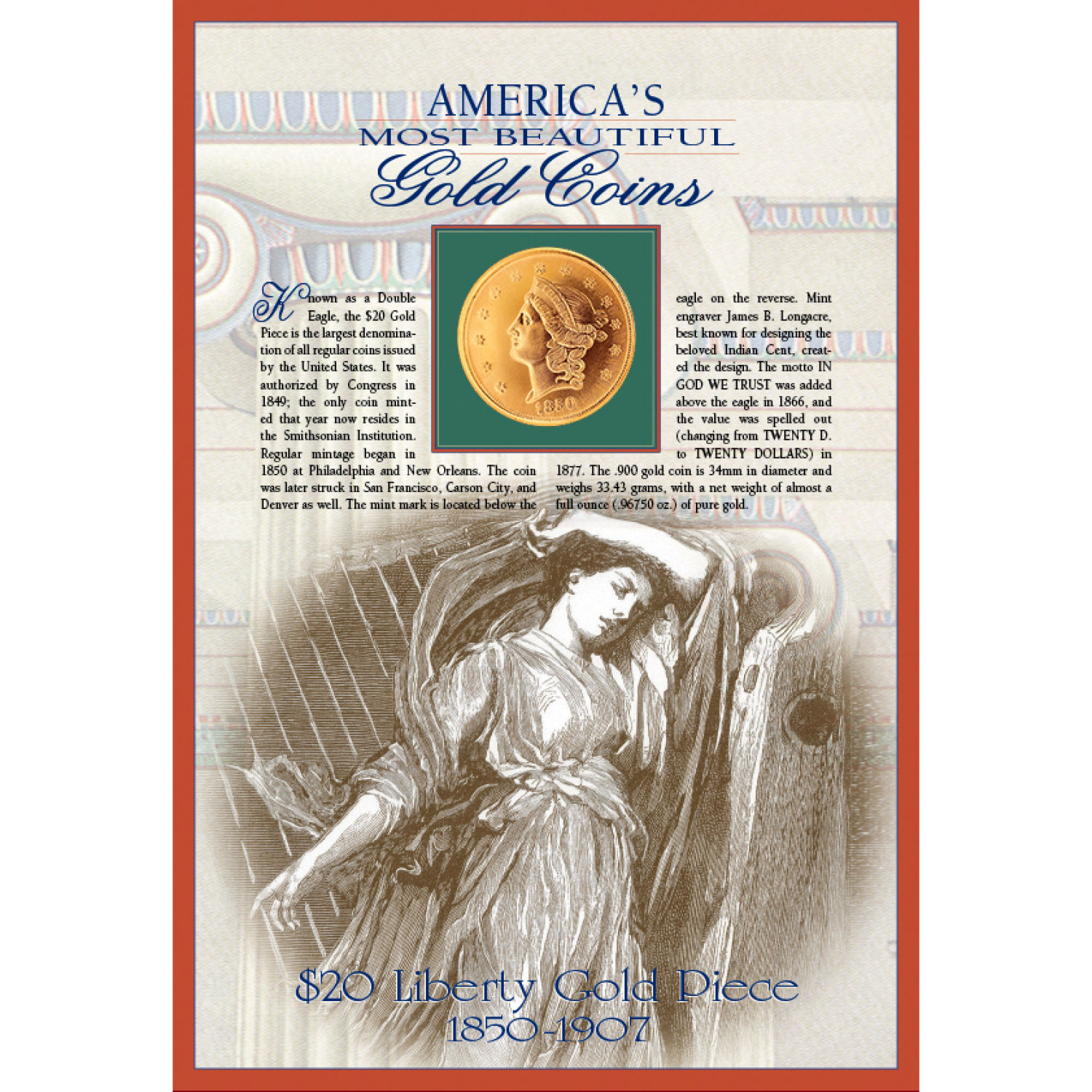 Tribute To America's Most Beautiful Coins - $20 Liberty Gold Piece 1850-1907 Replica Coin
