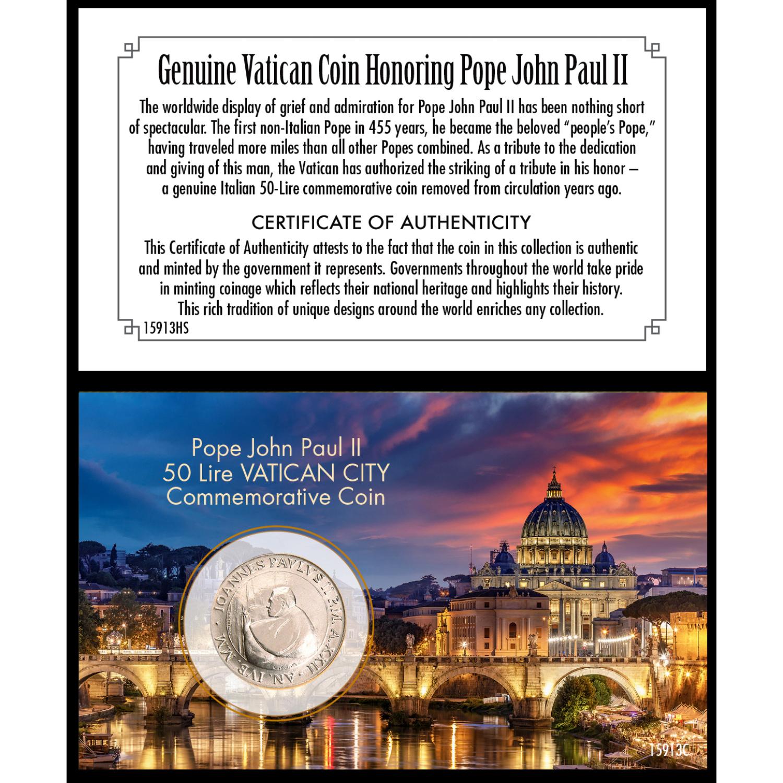 Pope John Paul Ii 50 Lire Vatican City Coin