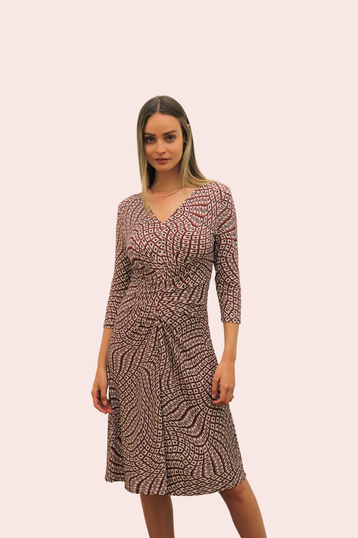 Amelia New York Geometric Viscose Jersey Dress