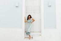 Sukiso Butterfly Sleeve Azure Dress - Back