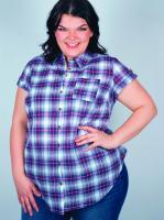 Americana Button Front Plaid Shirt - Plus - Back