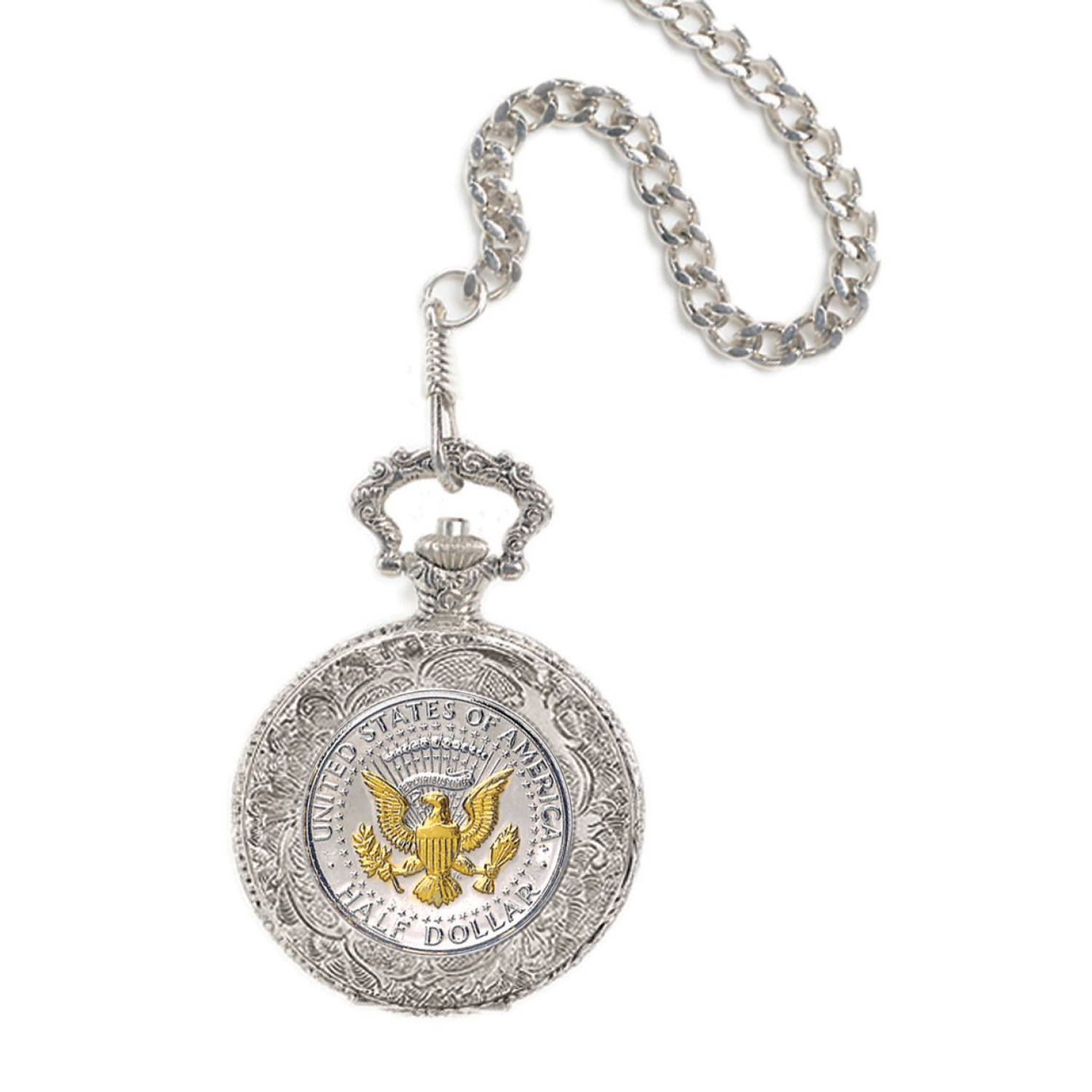 Selectively Gold-Layered Presidential Seal Coin Pocket Watch
