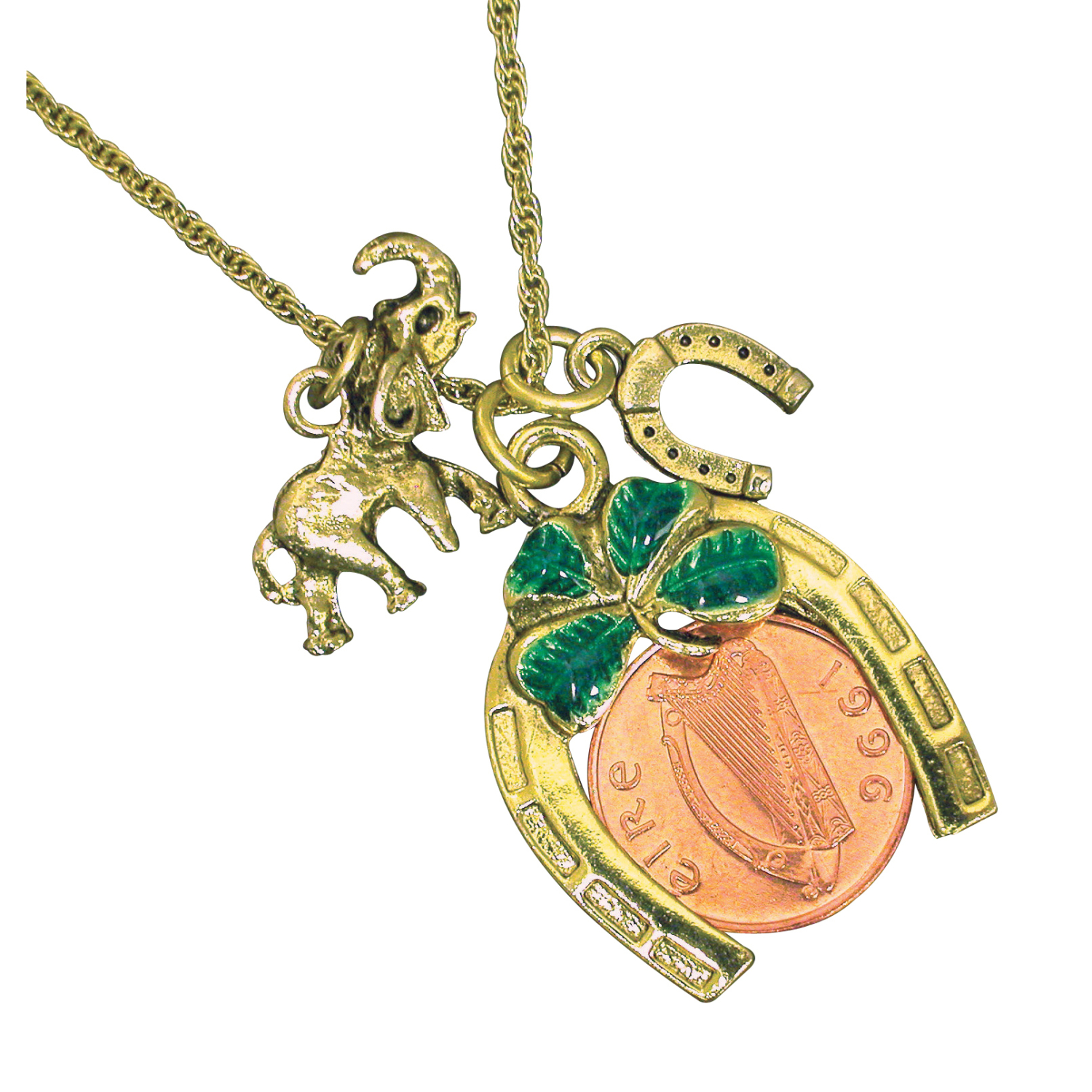 Irish Penny Coin Lotto Scratcher Charm Necklace