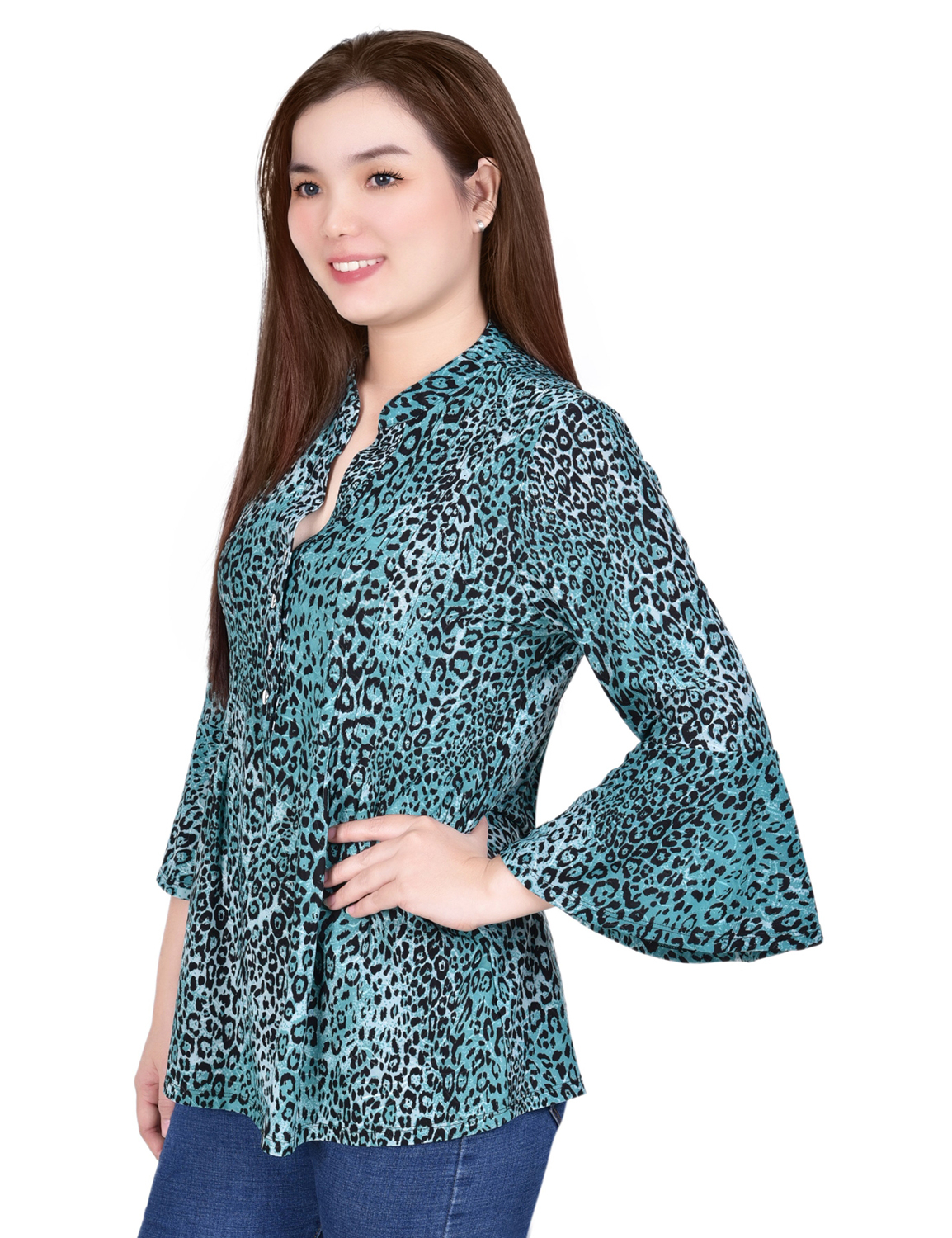 3/4 Bell Sleeve Pleat Front Y Neck- Petite