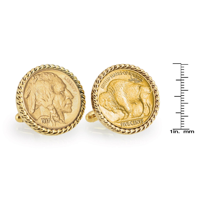 Gold-Layered Buffalo Nickel Gold Tone Rope Bezel Coin Cufflinks