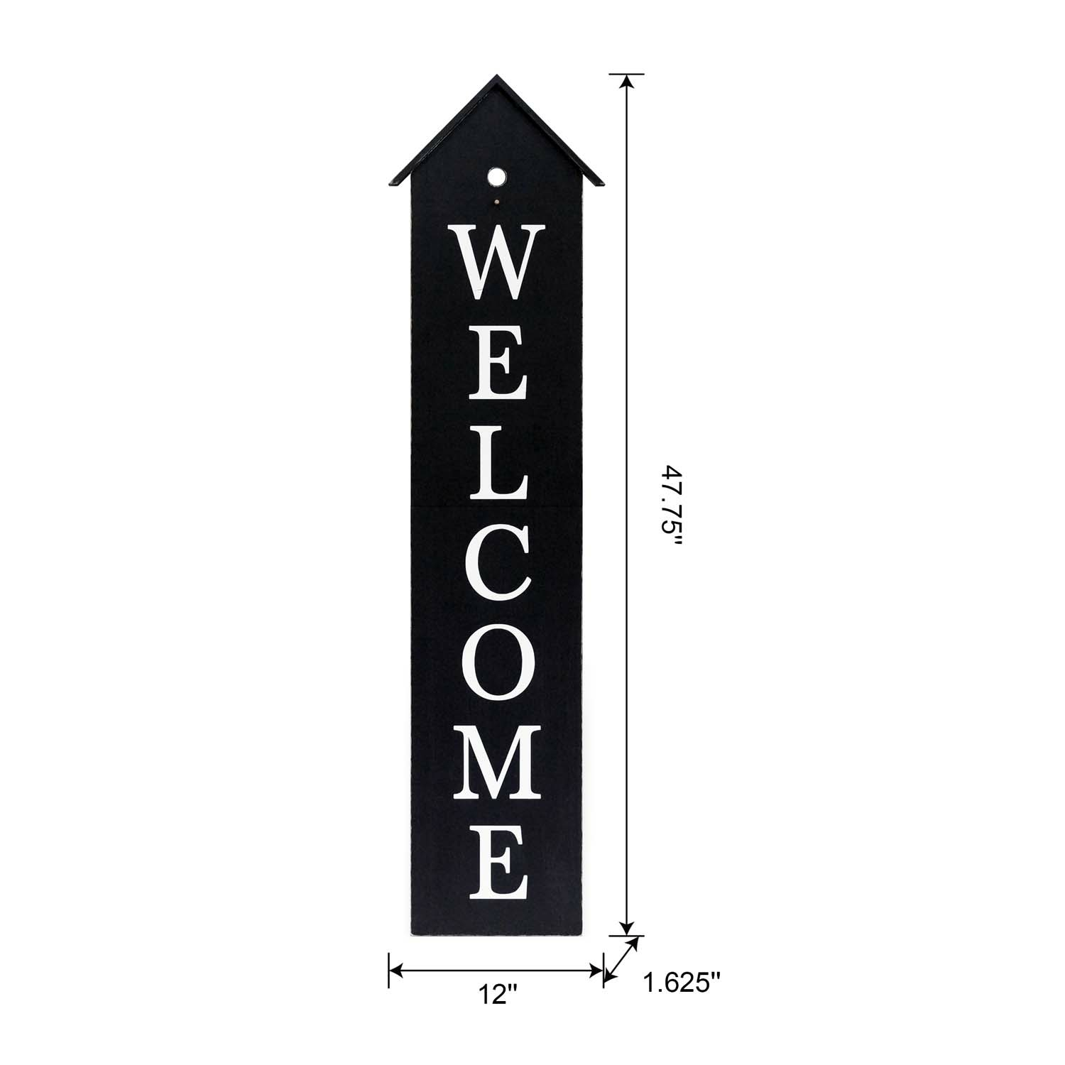 House Shaped Welcome Porch Sign 48In-Black