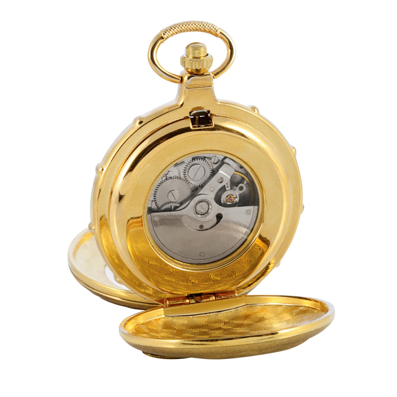 Jfk Half Dollar Goldtone Train Coin Pocket Watch With Skeleton Movement