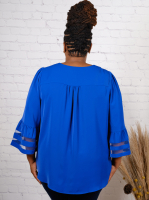 Night Out Top With Mesh Insert At Sleeve - Back