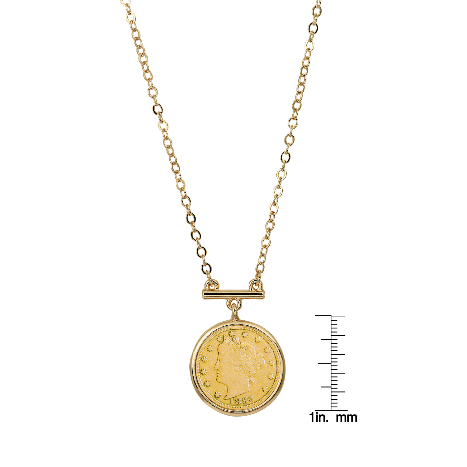 Gold Layered Liberty Nickel Coin Gold Tone Bar Necklace