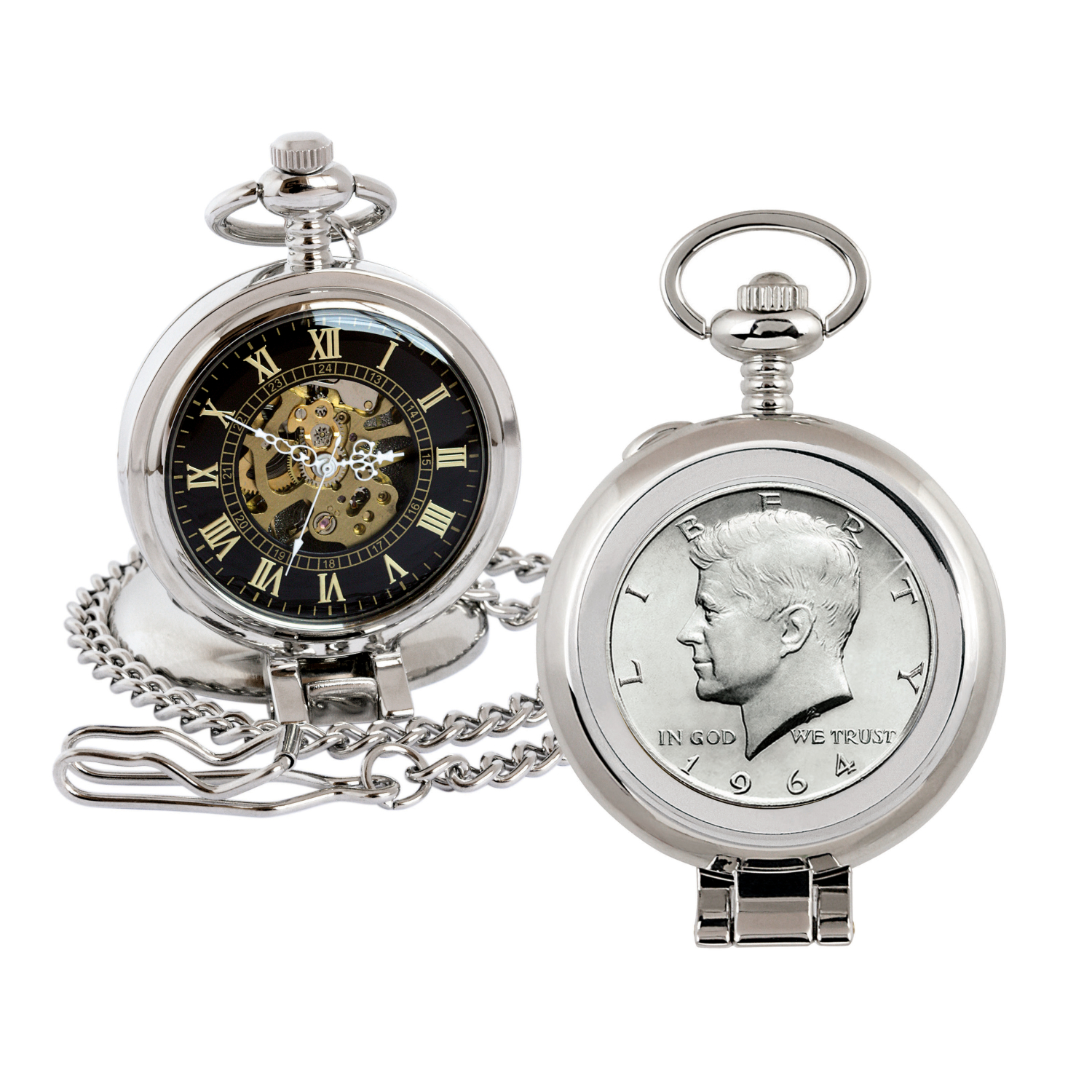 Jfk 1964 First Year Of Issue Half Dollar Coin Pocket Watch With Skeleton Movement - Black Dial With Gold Roman Numerals