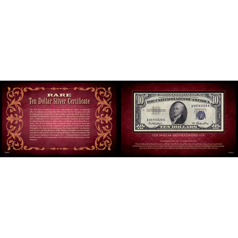Ten Dollar Silver Certificate 5X8 Portfolio United States Genuine Currency