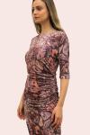 Amelia New York Ruched Printed Plum Dress - 3