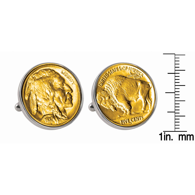 Gold-Layered Buffalo Nickel Silvertone Bezel Coin Cufflinks