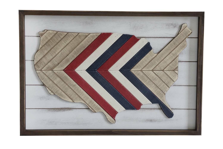 Pieced Wood American Map Wall Art