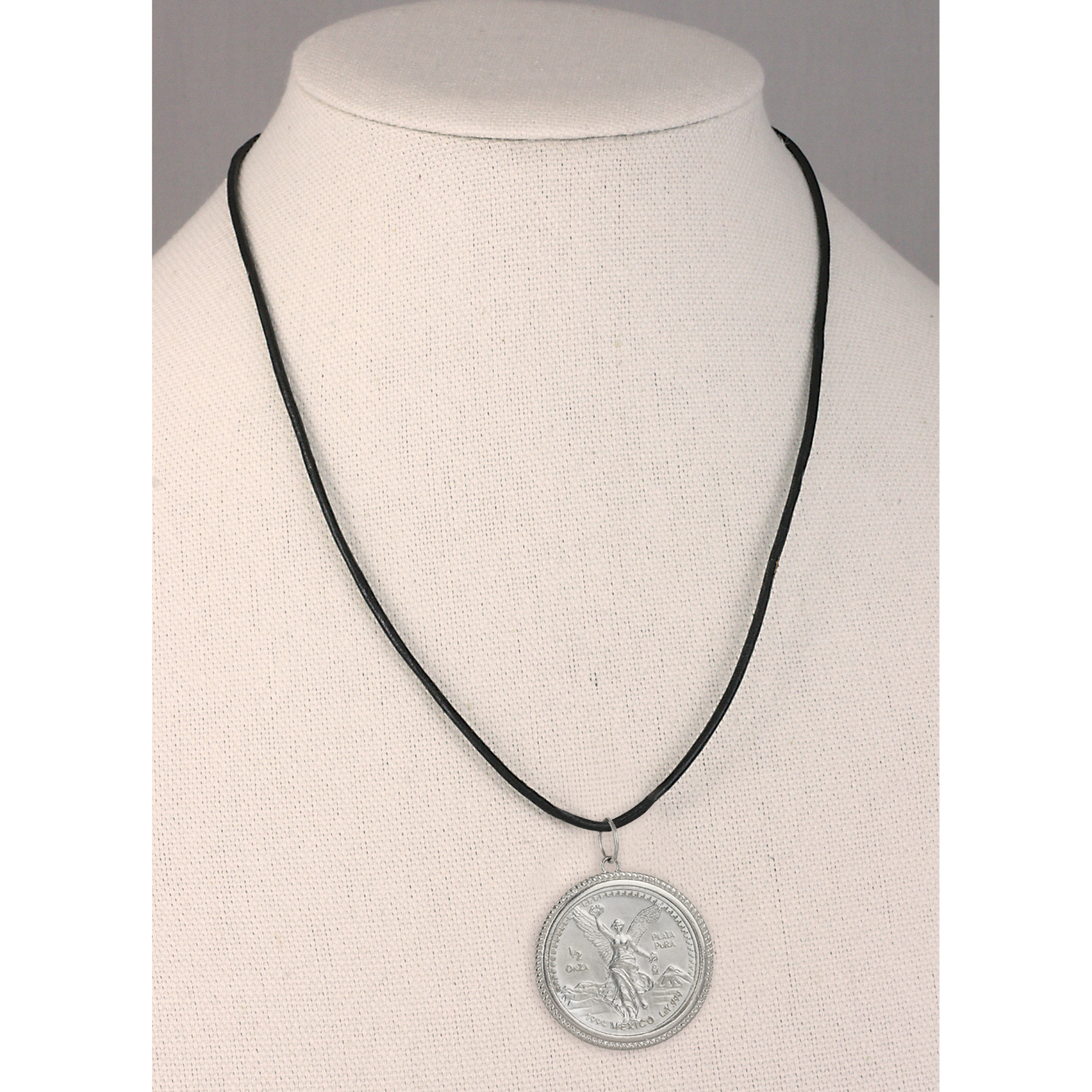 Mexican Angel  1/2 Oz Silver Coin Pendant With Leather Cord