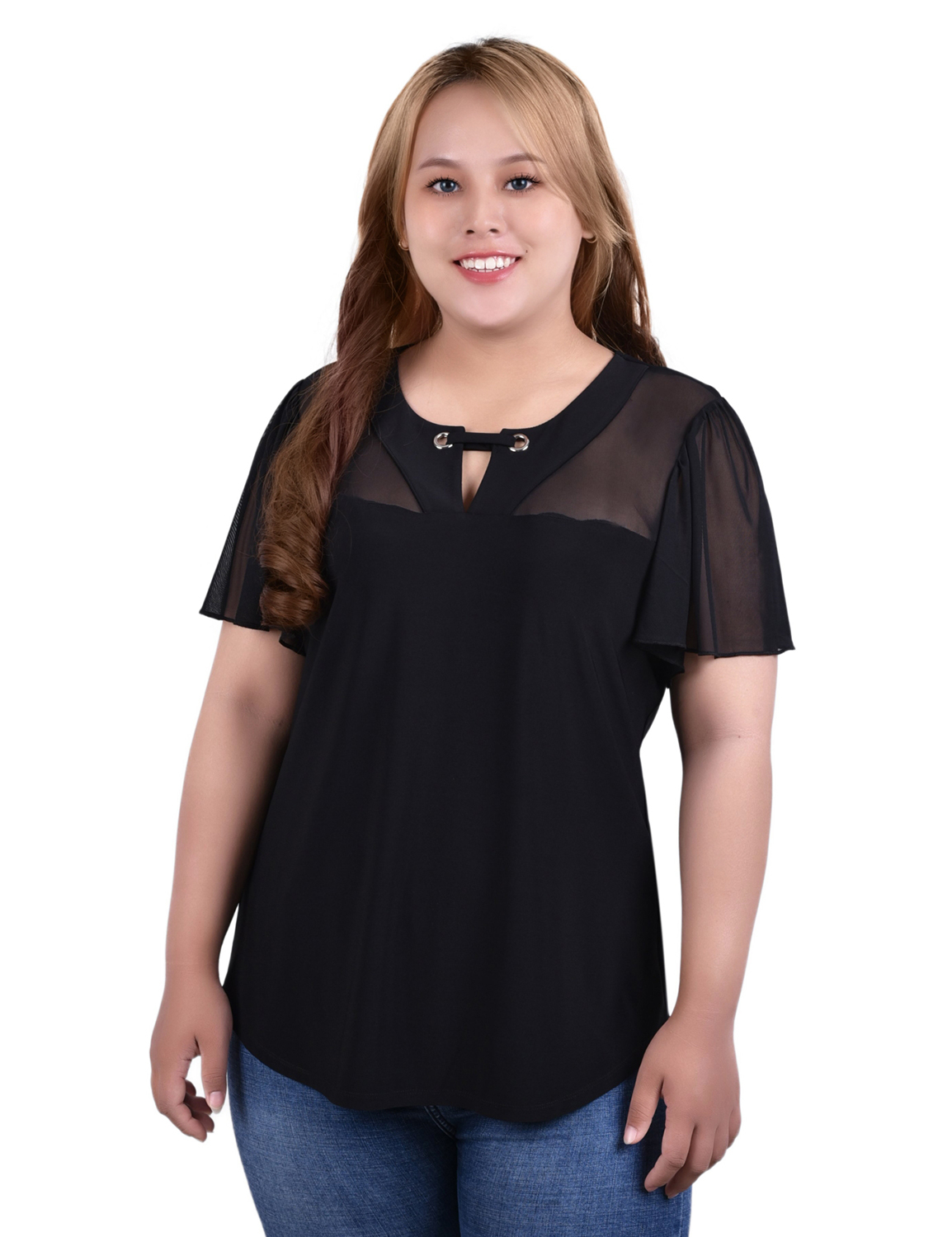 Short Flutter Sleeve Pullover With Mesh Yoke And Grommets