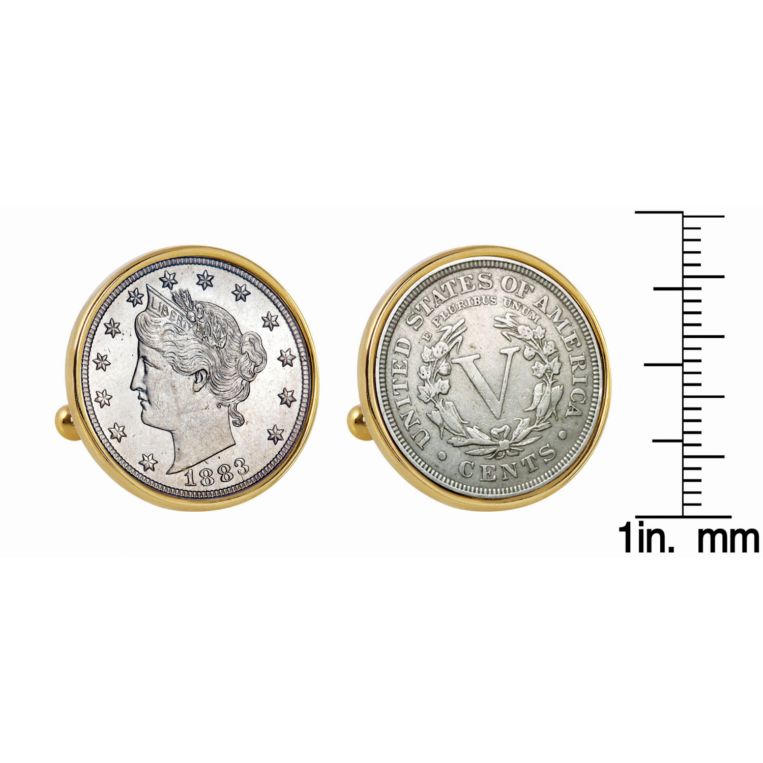 1883 First-Year-Of-Issue Liberty Nickel Gold Tone Bezel Coin Cufflinks