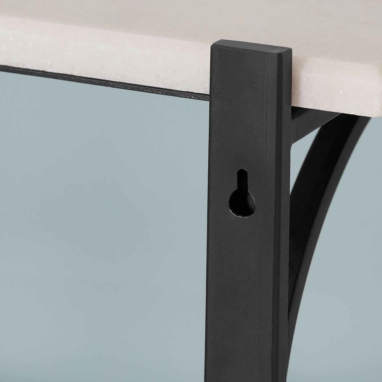2 Foot Black Bracket Marble Shelf Set Of 2