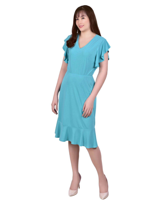 Ny Collection Petite Short Flutter Sleeve Knit Crepe Dress