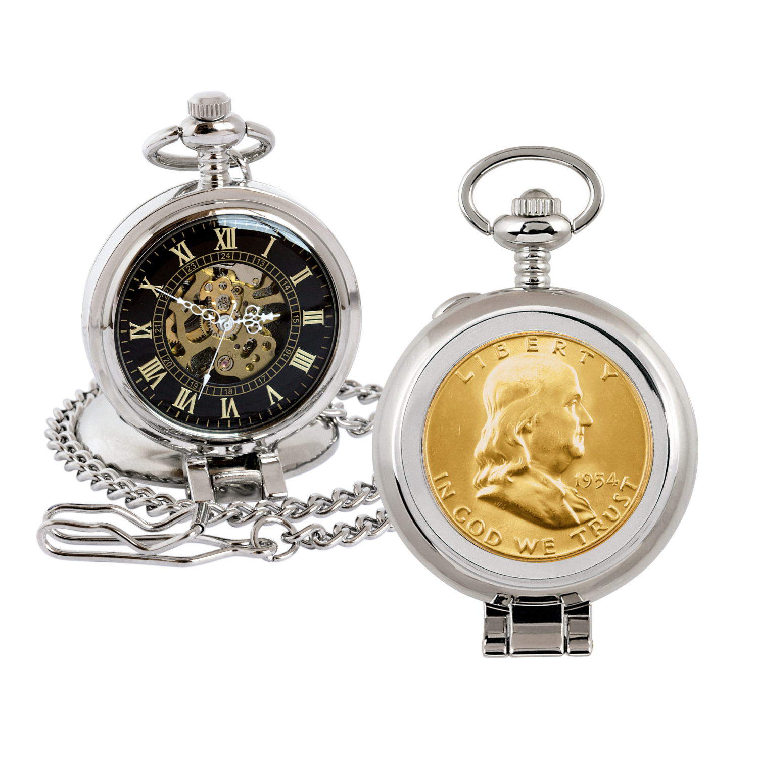 Gold-Layered Silver Franklin Half Dollar Coin Pocket Watch With Skeleton Movement - Black Dial With Gold Roman Numerals