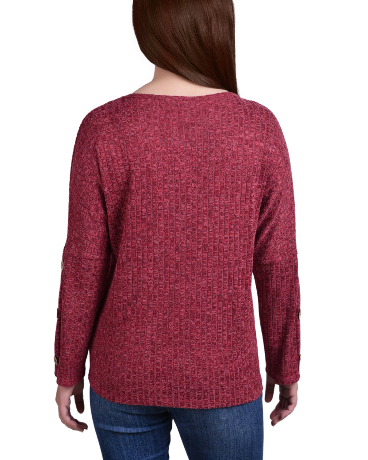 Long Sleeve Cowl Neck Pullover With Buttons