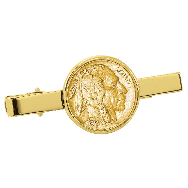 Gold-Layered Buffalo Nickel Goldtone Tie Clip