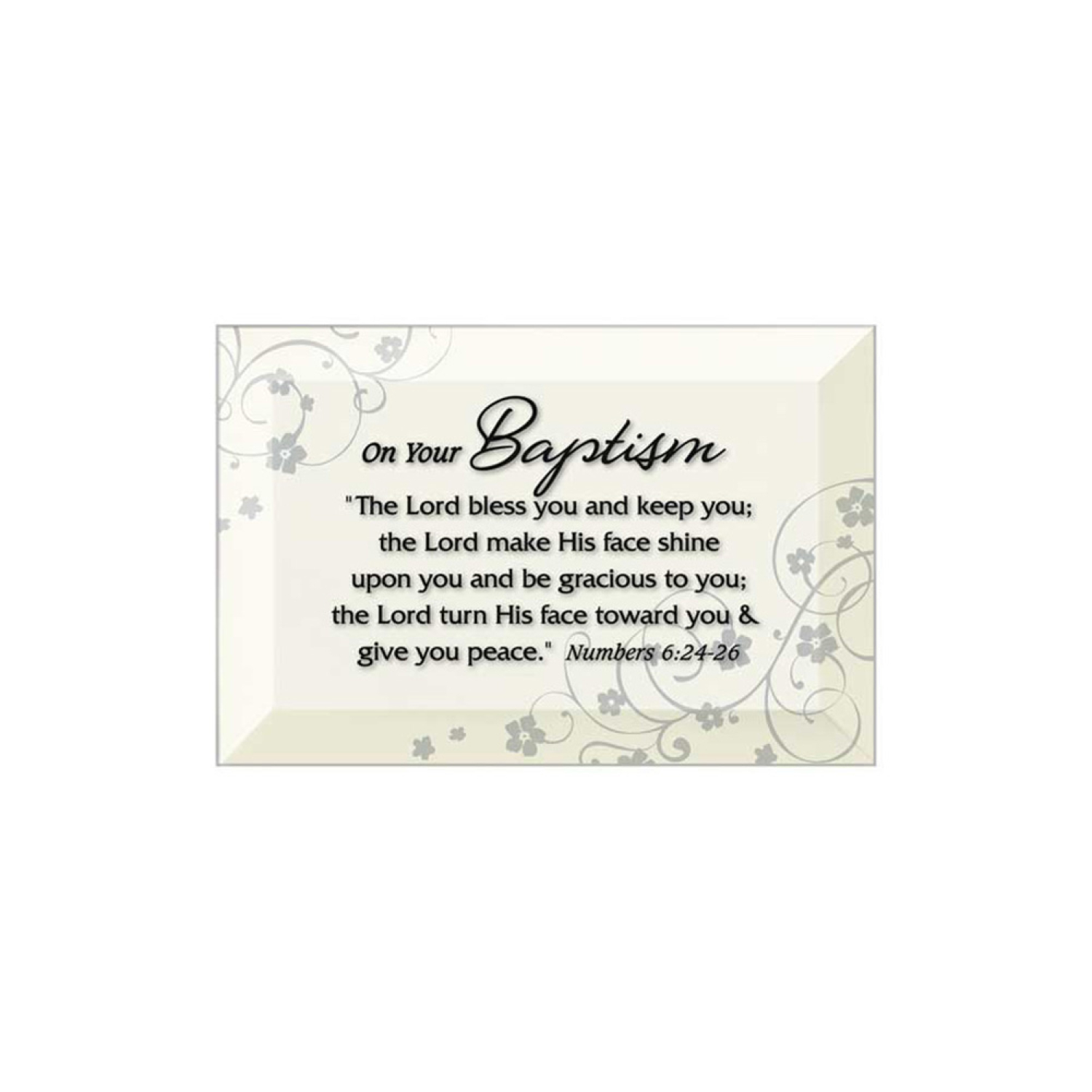 Baptism Beveled Glass Plaque With Easel