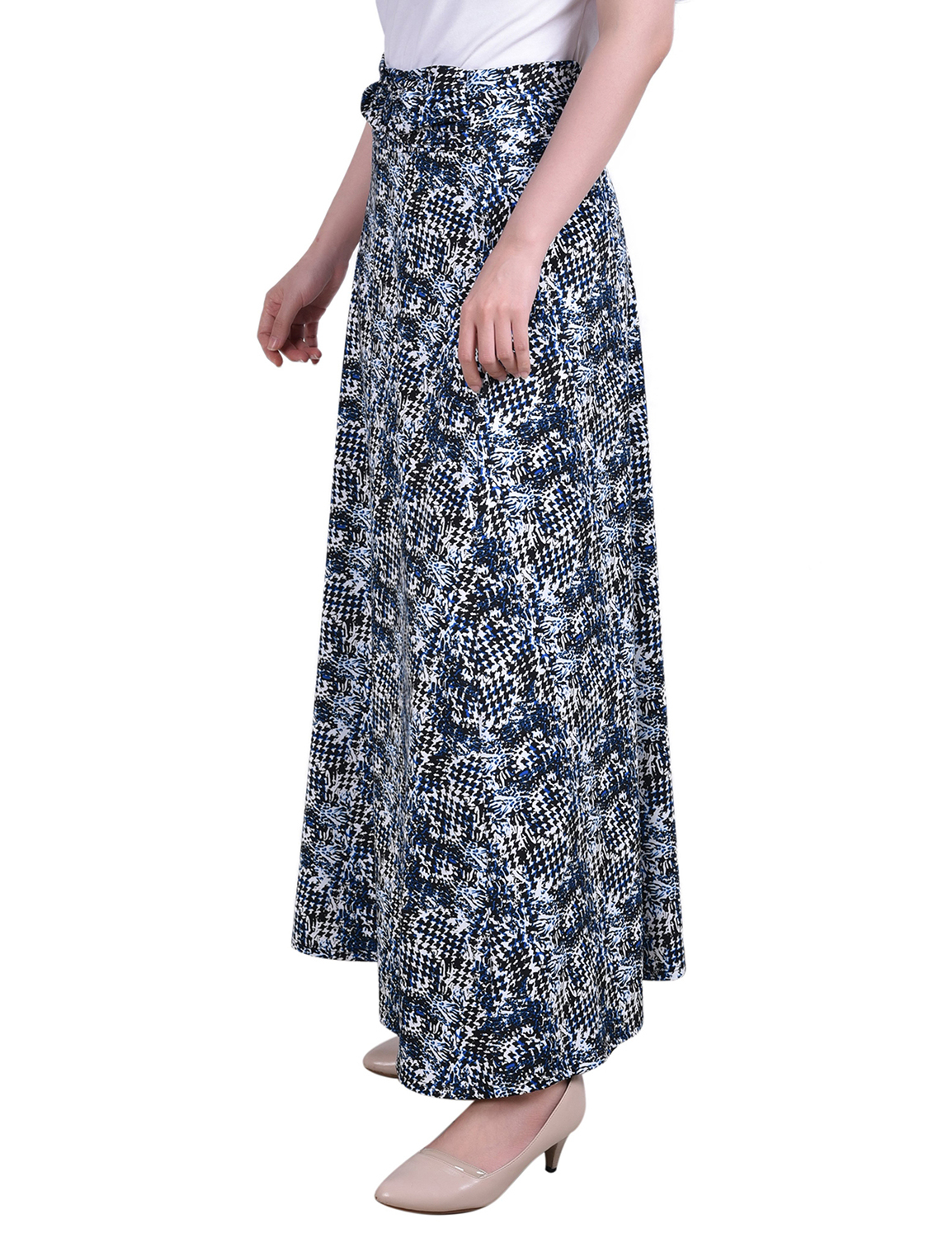 Ny Collection Petite Maxi A-Line Skirt With Front Faux Belt With Ring Detail