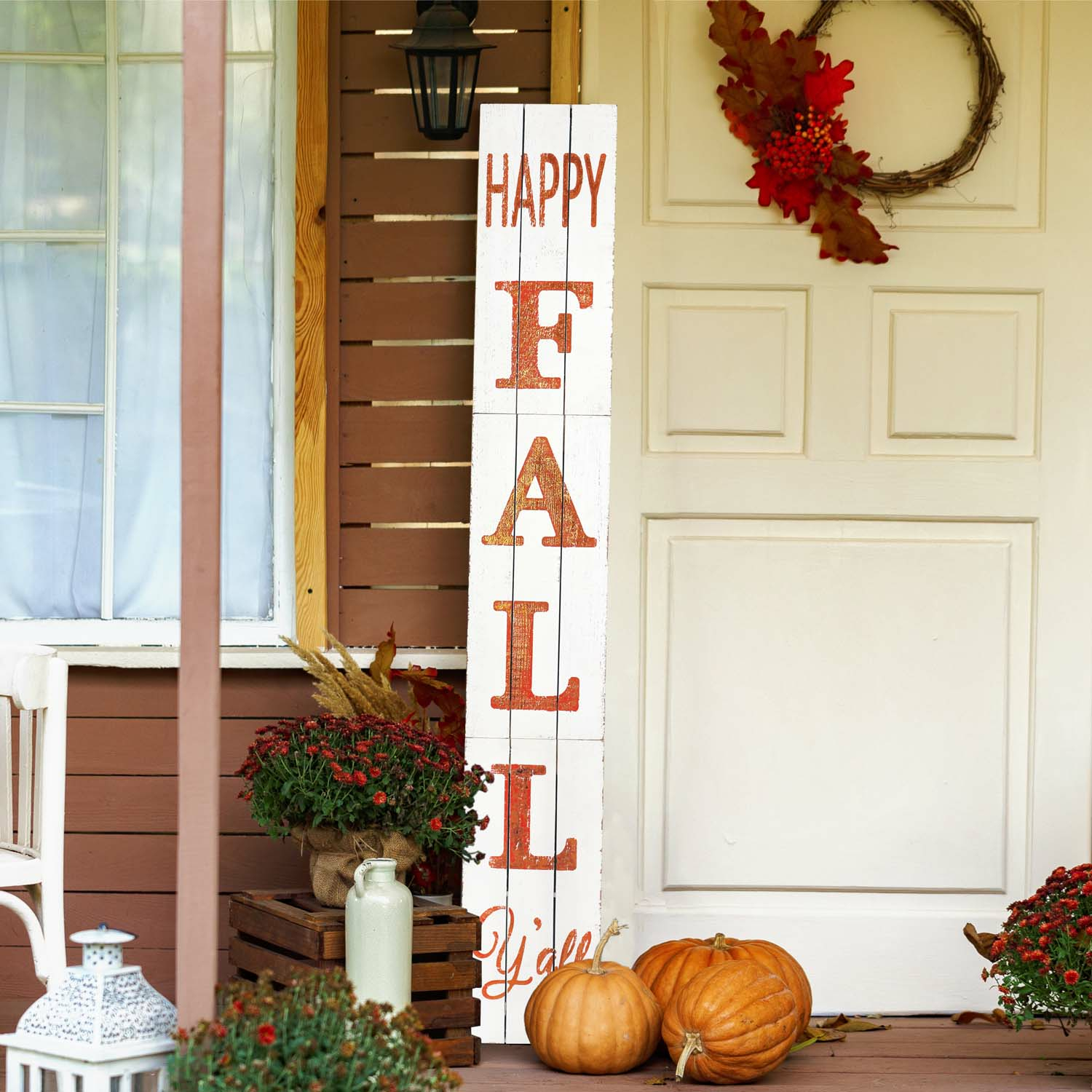 Happy Fall Yall Wood Porch Sign-White 72In