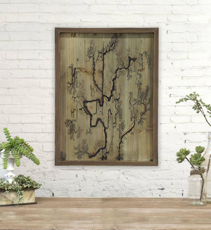 Rectangle Lichtenberg Wood Burning Wall Art (Brown)