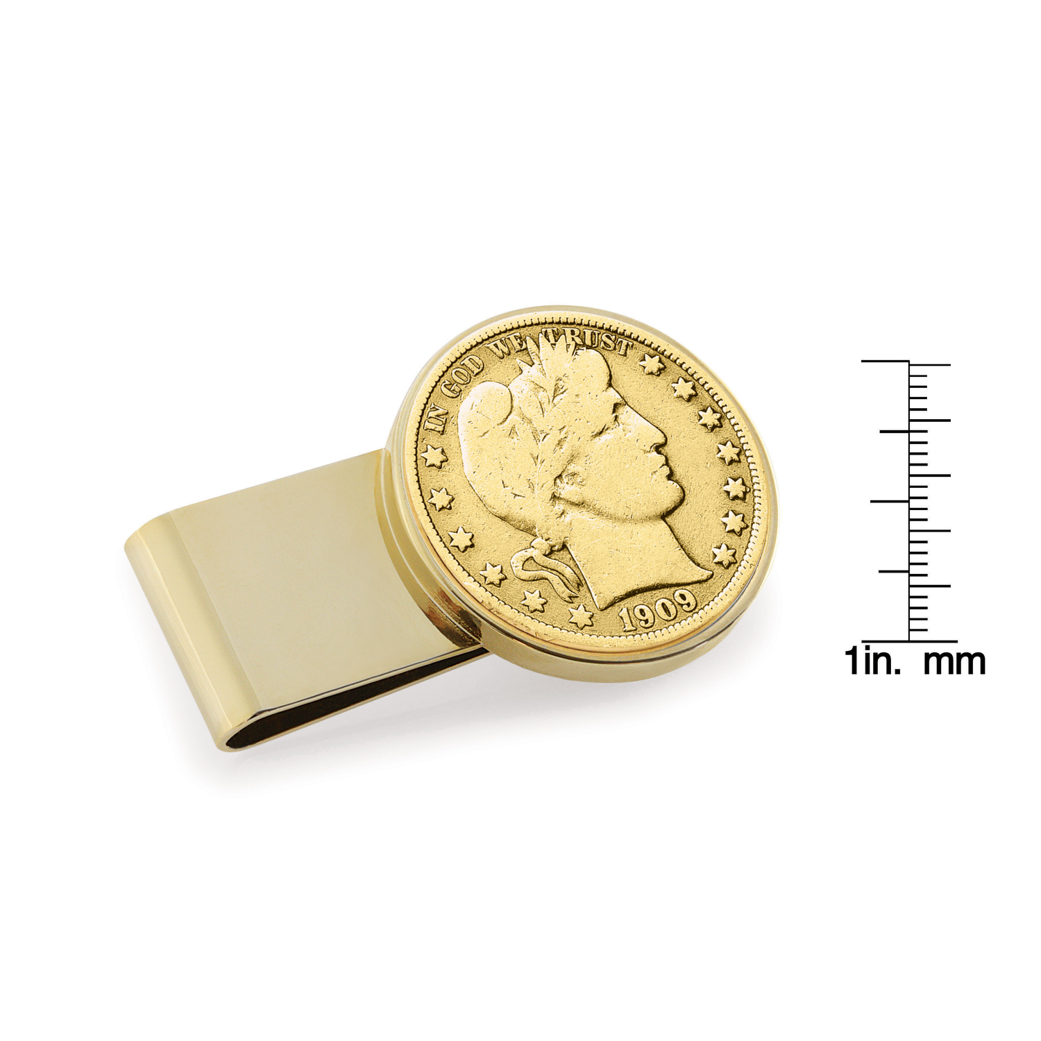 Gold-Layered Silver Barber Half Dollar Stainless Steel Goldtone Coin Money Clip
