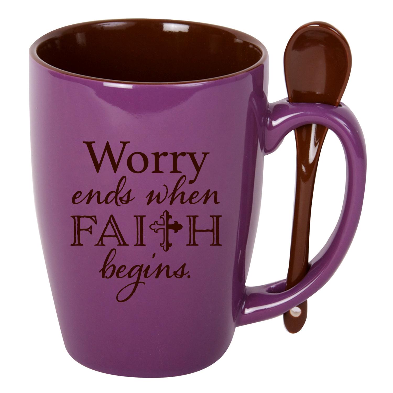 Coffee Soup Ceramic Mug - Worry Ends When Faith Begins - 15 Ounce Designer Mug With Spoon