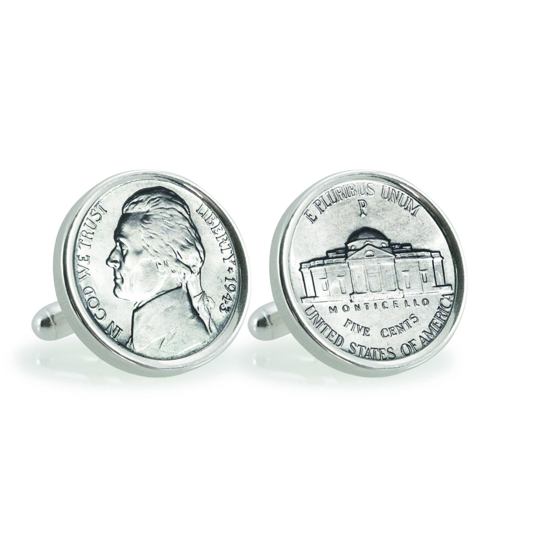 Silver Jefferson Nickel Wartime Nickel Sterling Silver Coin Cufflinks