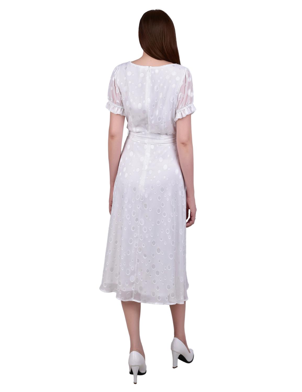 Short Sleeve Belted Swiss Dot Dress