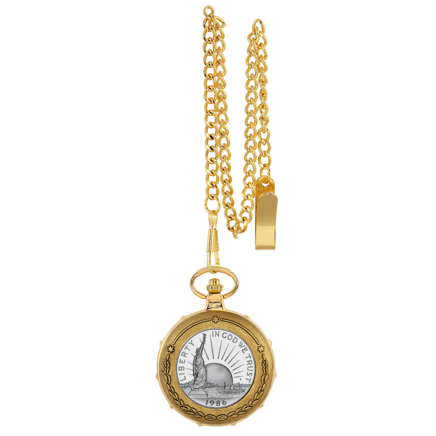 Statue Of Liberty Commemorative Half Dollar Goldtone Train Coin Pocket Watch With Skeleton Movement