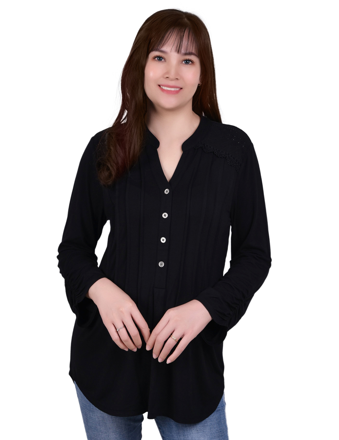 Long Sleeve Pleat Front Y Neck With Rounded Hem