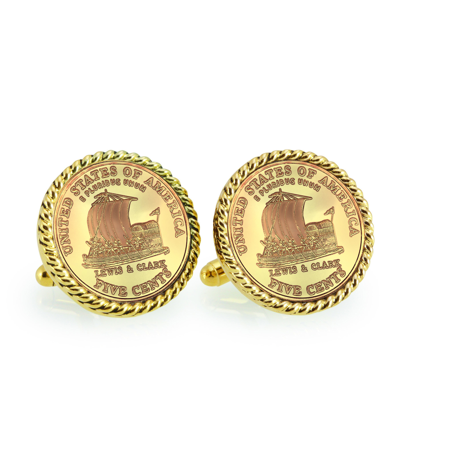 Gold-Layered 2004 Keelboat Goldtone Rope Bezel Coin Cuff Links
