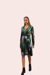 Amelia New York Long Sleeve Blues Bar Collared Shirt Dress - 1