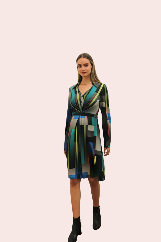 Amelia New York Long Sleeve Blues Bar Collared Shirt Dress