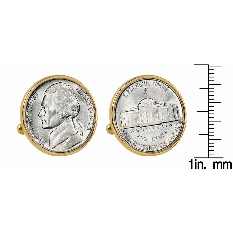 Silver Jefferson Nickel Wartime Nickel Goldtone Bezel Coin Cuff Links
