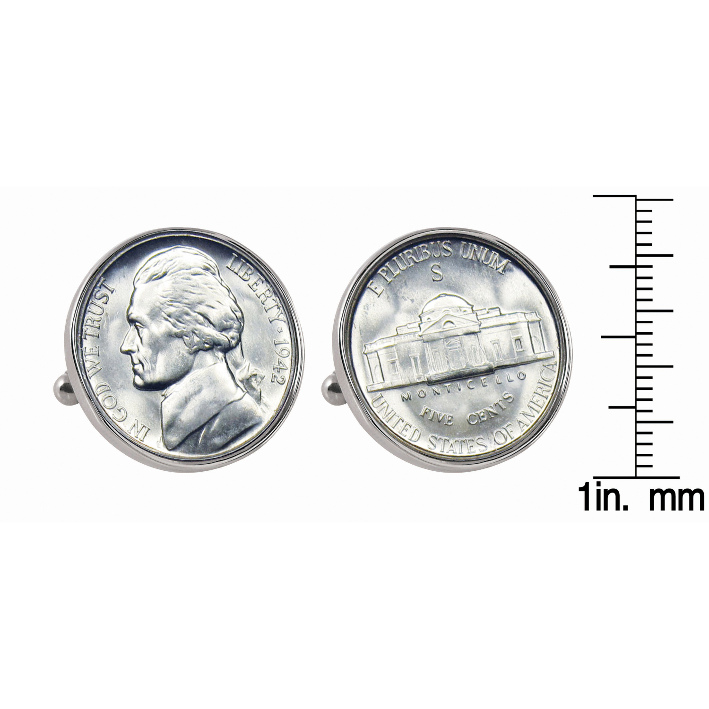 Silver Jefferson Nickel Wartime Nickel Silvertone Bezel Coin Cufflinks