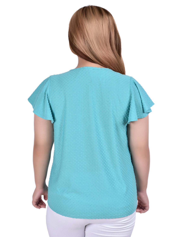 Short Flutter Sleeve Blouse With Smocked Front Yoke