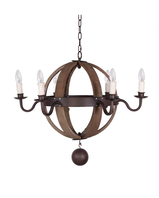 Wood And Metal Sphere Chandelier