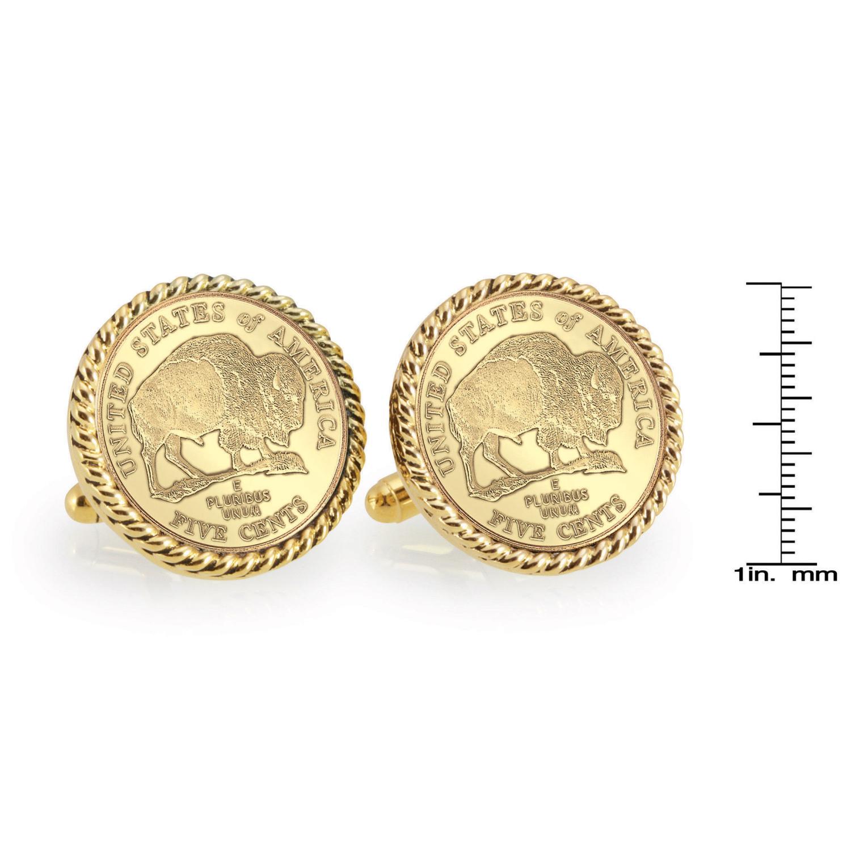 Gold-Layered 2005 Bison Nickel Gold Tone Rope Bezel Coin Cufflinks