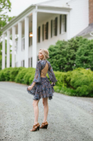 Sukiso Women's Grey Ellian Ruffled Long Sleeved Dress In Sky - Back