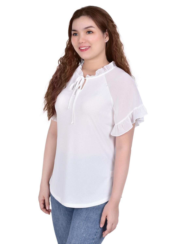 Short Ruffled Sleeve Crepe Knit Top With Chiffon Sleeves