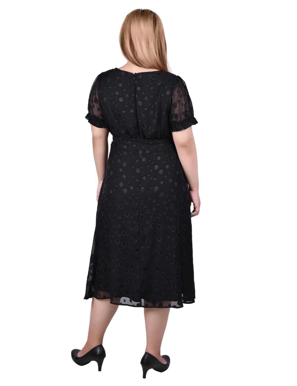 Short Sleeve Belted Swiss Dot Dress - Plus