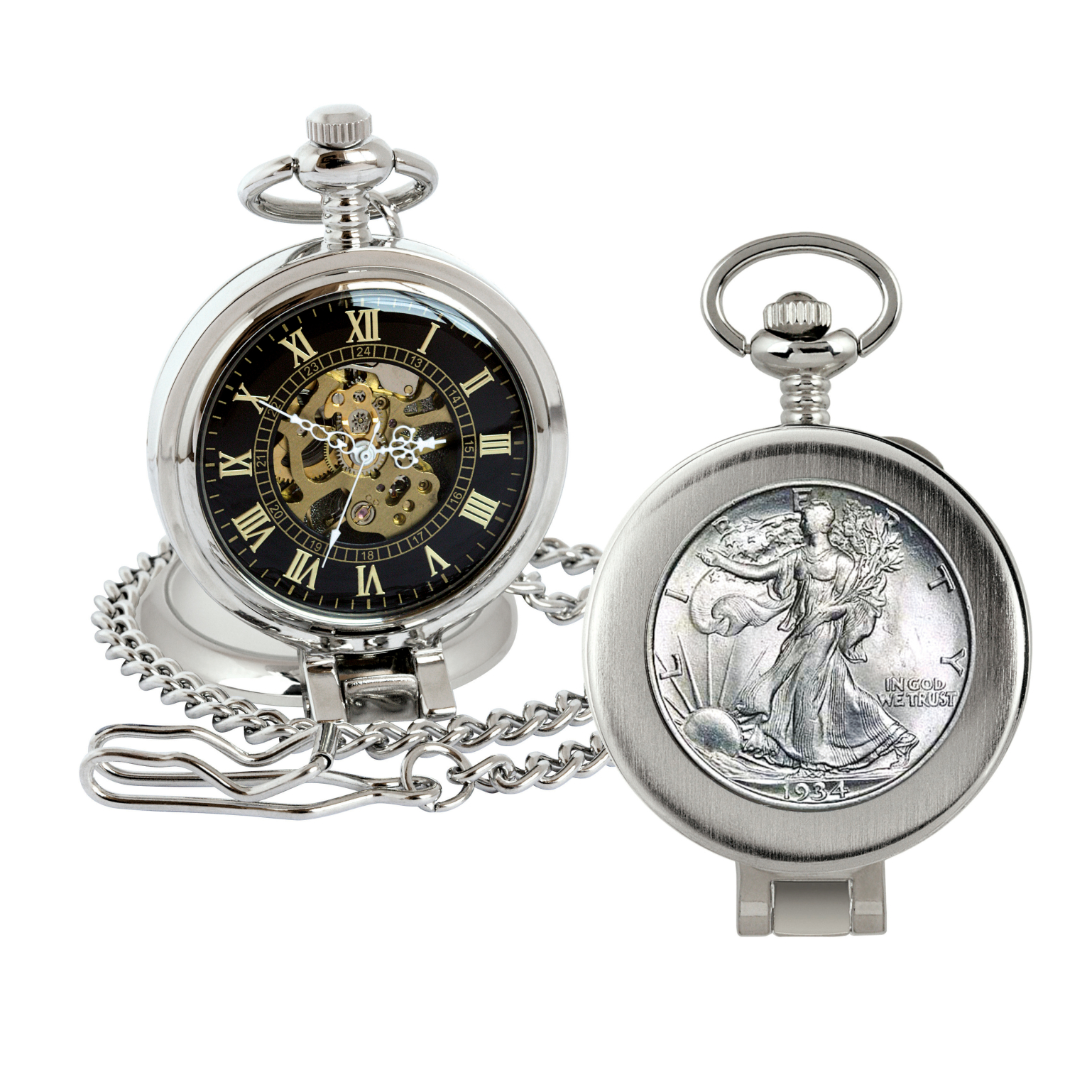 Silver Walking Liberty Half Dollar Coin Pocket Watch With Skeleton Movement - Magnifying Glass - Black Dial With Gold Roman Numerals