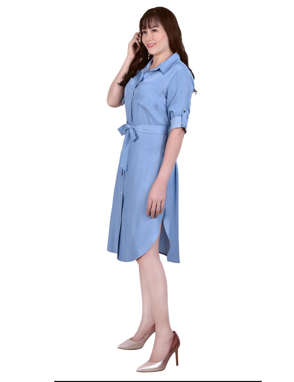 3/4 Roll Tab Sleeve Denim Dress